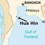 Hua hin kartta josta näkyy etäisyys pääkaupunki Bangkokiin.