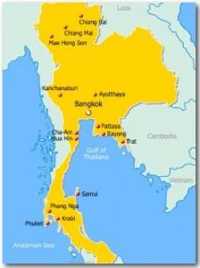 Thaimaan kartta, jossa näkyy Krabin sijainta ja myös Phuket, Samui, Bangkok ja Pattaya.