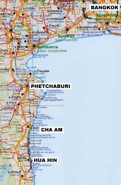 Cha am maantiekartta, jossa näkyy Hua Hin, Phetchaburi ja Bangkok.